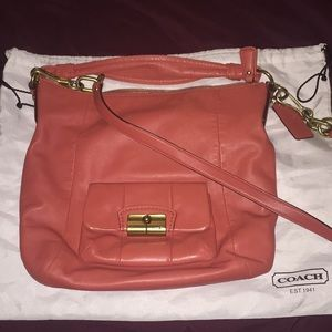 Coral leather Coach hobo bag